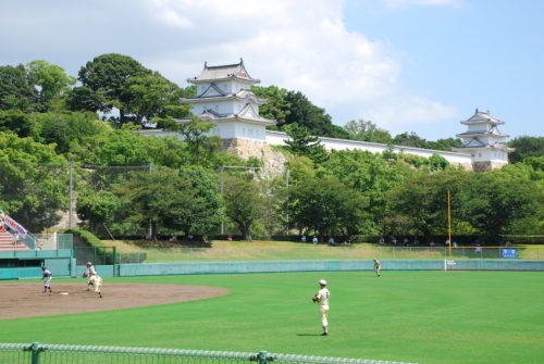 夏の球児と城